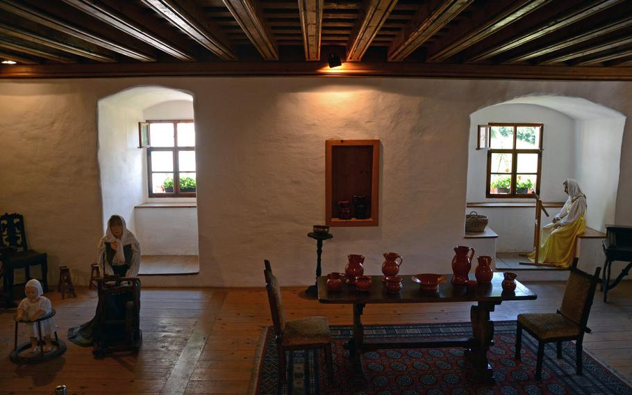 The Predjama Castle's dinning room is one of many rooms decorated to show what they might have looked like in the past.