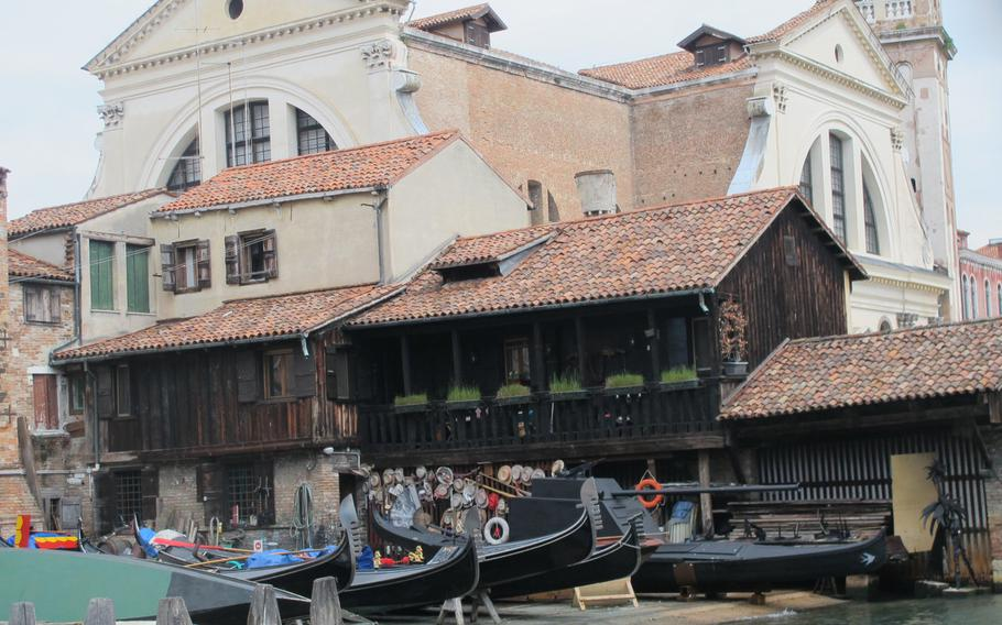 The gondola boat yard in San Trovaso Square looks Alpinesque compared to the church behind it and the surrounding buildings.