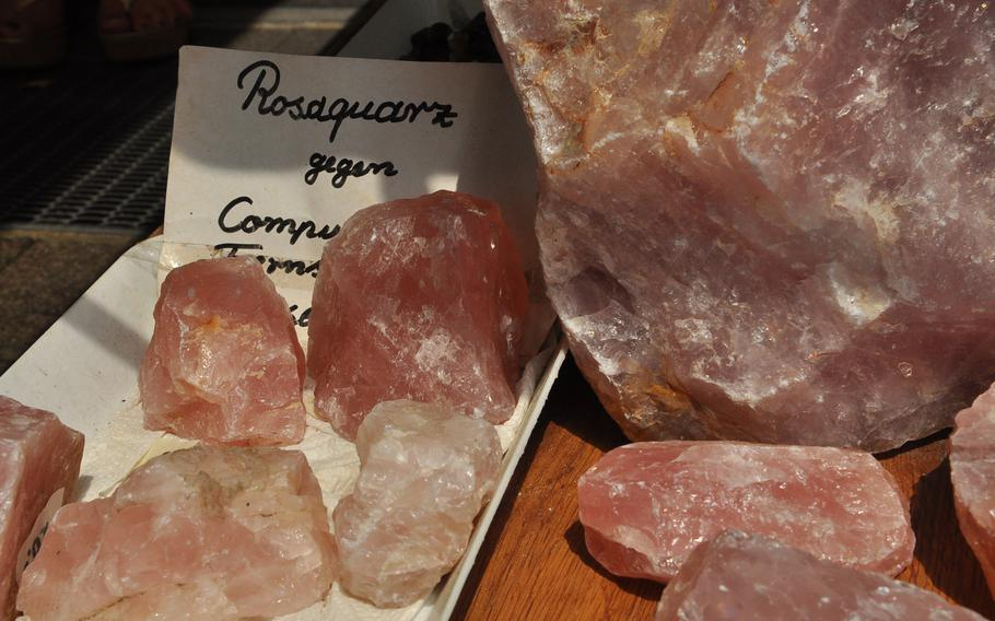 Pieces of rose quartz were for sale outside a shop in Idar-Oberstein. The town, comprising two neighboring villages along the banks of the Nahe River, is the center of Germany's precious-stones route.