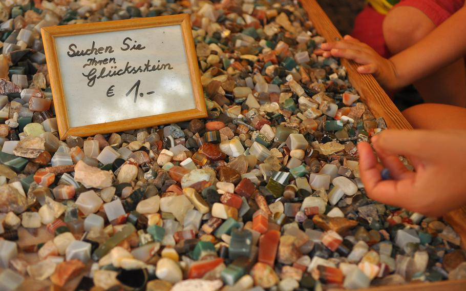 Roughly cut pieces of polished rocks were only 1 euro at a stand outside a shop in Idar-Oberstein, famous for its semiprecious gemstones.
