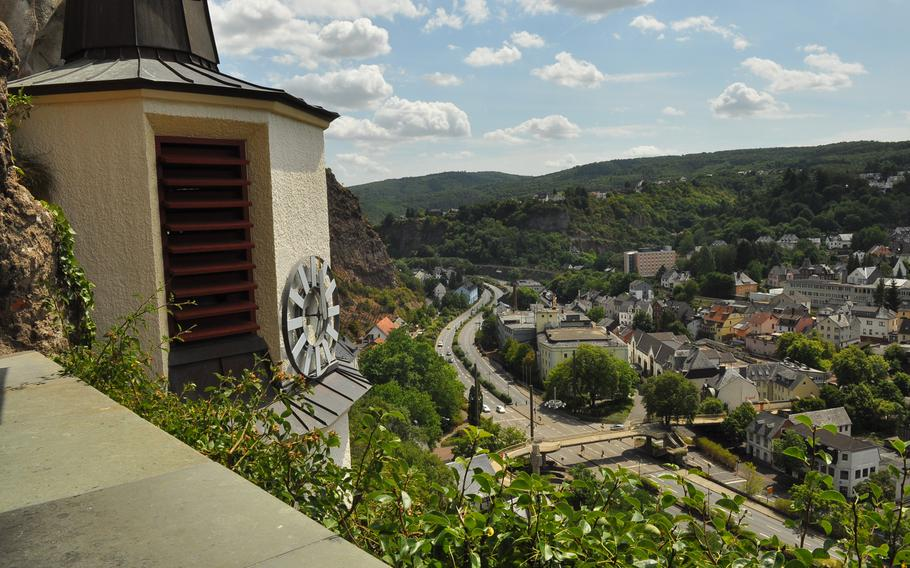 A viewing platform outside the Felsenkirche  looks over the town of Idar-Oberstein, Germany.