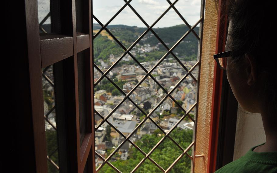 A bird's-eye view of Idar-Oberstein, Germany, from a window inside Oberstein Castle.