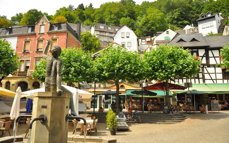 A quaint fountain sits in the town center of Idar-Oberstein, Germany. The town, composed of the villages Idar and Oberstein, is about 15 minutes away from Baumholder.