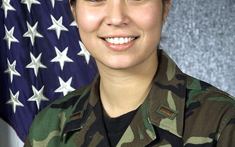 Air Force 2nd Lt. Teresa M. Rini graduated from Seoul American High School in 1998, went to Boston College on an ROTC scholarship, was commissioned, then assigned to the 51st Comptroller Squadron at Osan Air Base, South Korea, as her first assignment.