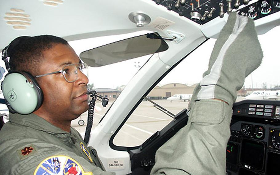 Maj. Tony Whiteside is an instructor pilot in Laughlin's T-1 Jayhawk, which is used to train students who will follow the tanker or airlift track.