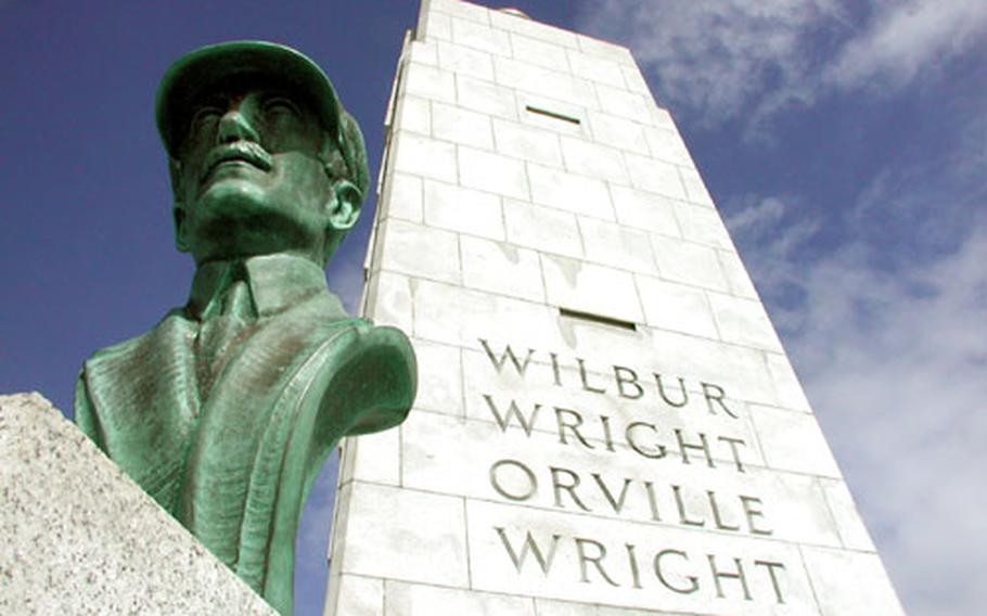 A statue of Orville Wright at the Wright brothers memorial on Big Kill Devil Hill.