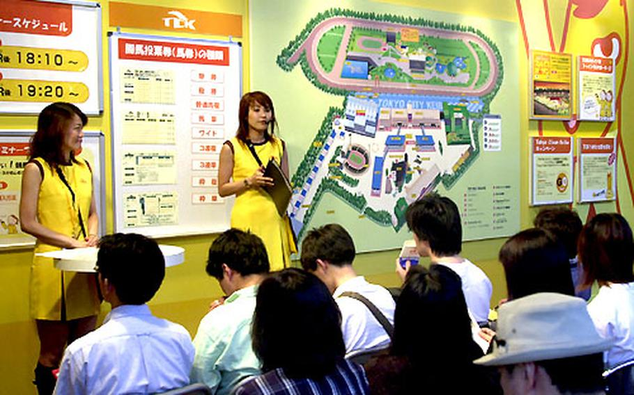 """The track employs a host of yellow-skirted women to explain the basics of betting in a series of """"beginners' seminars."""""""