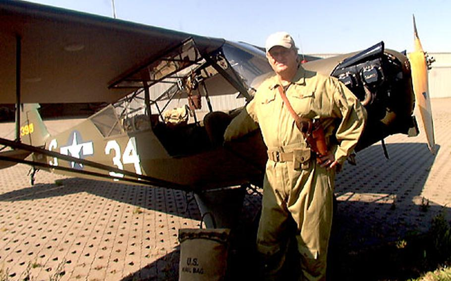 A few years ago, Steve Whelan restored a World War II Piper L-4B airplane, giving it the markings of the 7th Field Artillery Battalion, 1st Infantry Division. The battalion, still active, is based in Schweinfurt, Germany.
