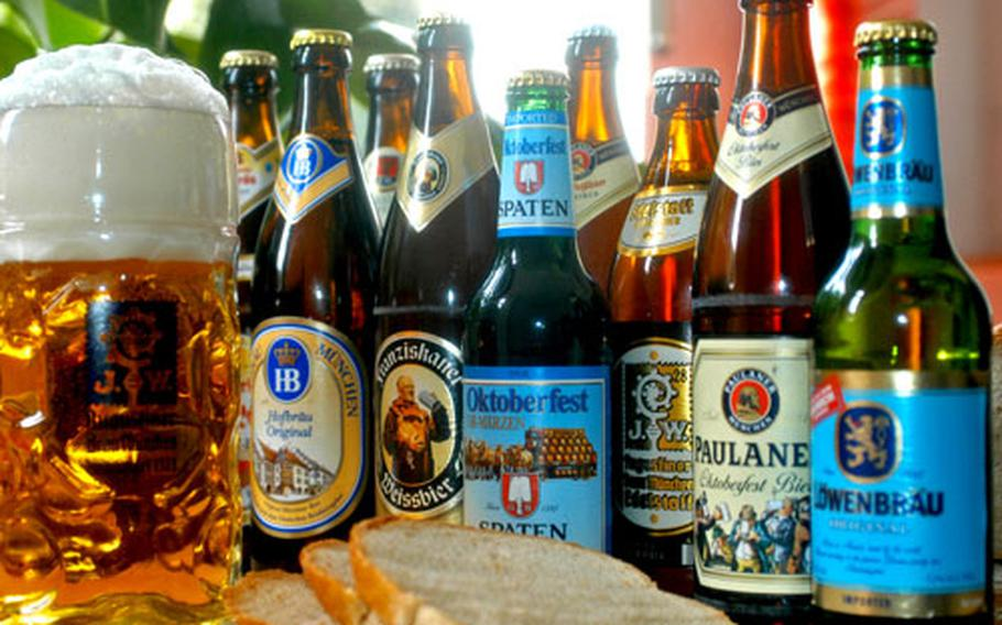 Ready for tasting: A sampling of the beers available at Oktoberfest awaits the thirsty. Slices of bread are used for cleansing the palate between samples.