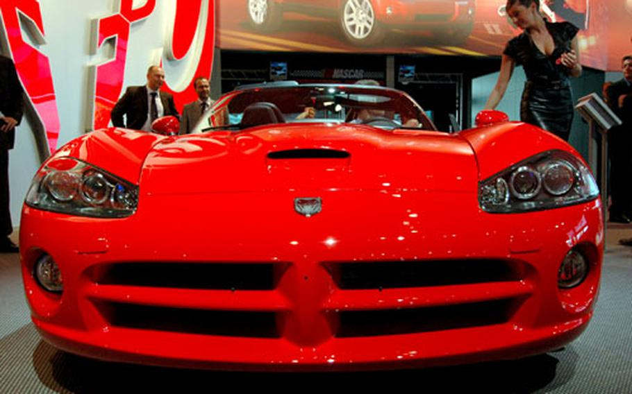 The 510-horse power Dodge Viper SRT-10 roadster, one of the most attractive American cars at the Frankfurt International Motor Show, has a base price of $85,745.