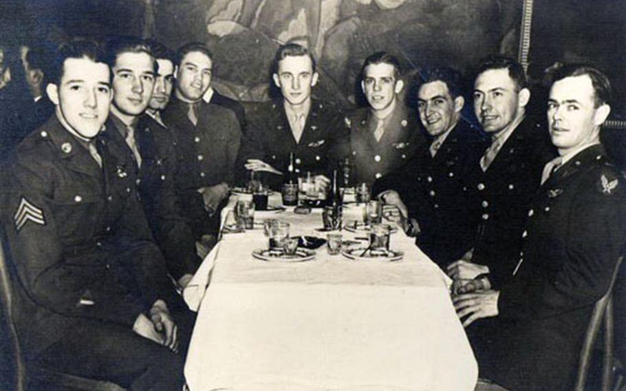 This crew failed to return to England after an April 29, 1944, bomb run over Berlin. From left to right: Sgt. John Bonnassiolle, Staff Sgt. Joseph Karaso, Sgt. Michael Chiodo, Staff Sgt. Orus Baxter, 2nd Lt. Robert Bishop, Sgt. John Harringer, 2nd Lt. Thomas Digman, 2nd Lt. Arthur Luce, and 2nd Lt. Donald Hess. Not shown: Sgt. James Blong and Staff Sgt. Ralph McDonald.