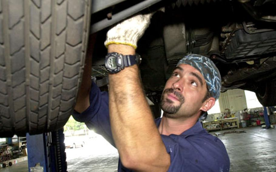 At Air Force centers, mechanics employed by the Services division can charge for vehicle work. Navy and Army facilities offer bay and tool rentals for do-it-yourselfers.