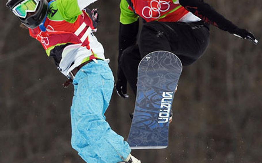 Olympic Snowboard Cross competitors such as Mellie Francon, left, of Switzerland, and Dominique Maltais of Canada, leave fans hungry for more high-flying action.