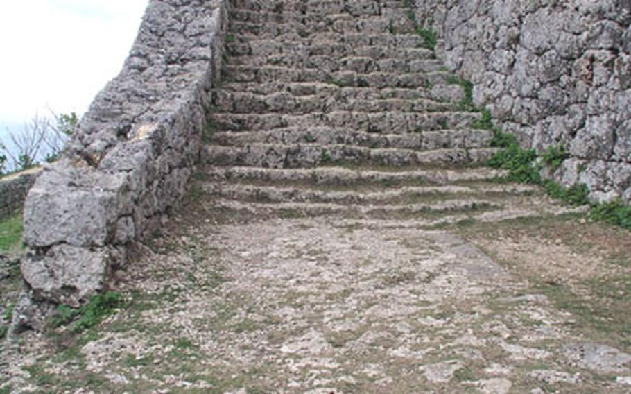 A flight of stairs at Katsuren Castle. A renewed interest in the past has led to more interest in this site, as well as other Okinawan communities, such as Hananchi in Nakijin.