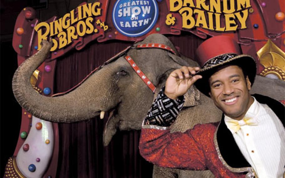 Tyron McFarlan Jr. gave up his Army greens for a ringmaster's top hot and tails. He has been with Ringling Bros. and Barnum & Bailey Circus for the past two years.