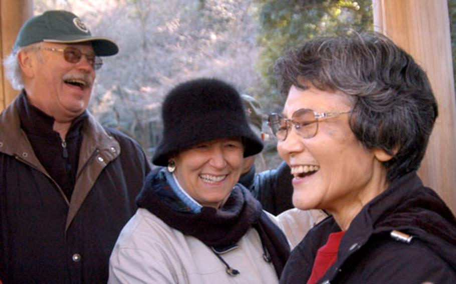 Tour guide Nikai Shiochi started the Good Time Trekkers two years ago as a way for Japanese people to practice English by showing Americans sites of interest in Japan.