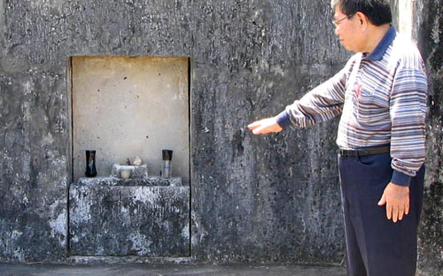 Gisho Nakama, the former curator of the Yomitan Folklore Museum, explains the importance of the annual shimi festivals, when Okinawans gather for picnics at their family tombs, leaving food, drink and burnt fake money for their ancestors' use during the coming year.