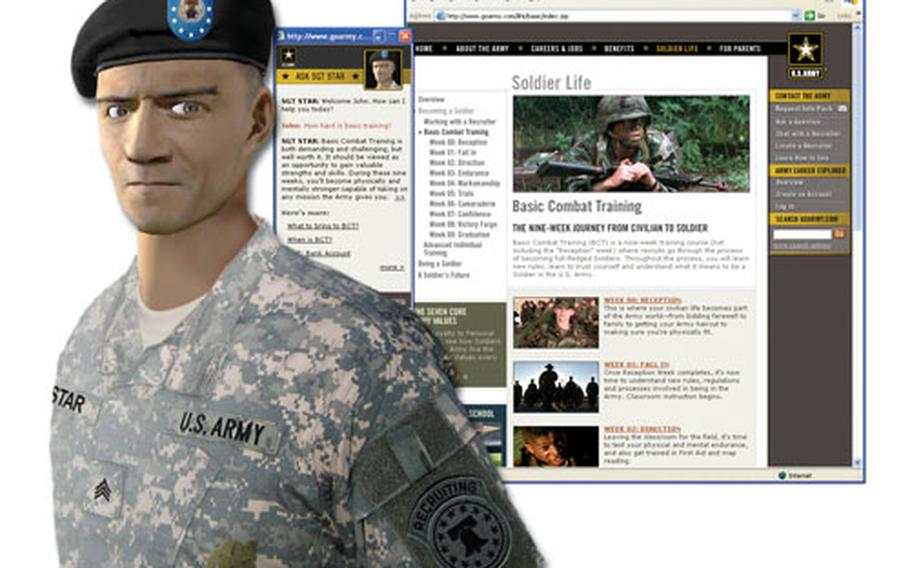 Sgt. STAR is the Internet avatar designed to encourage Web surfers to enlist in the Army.