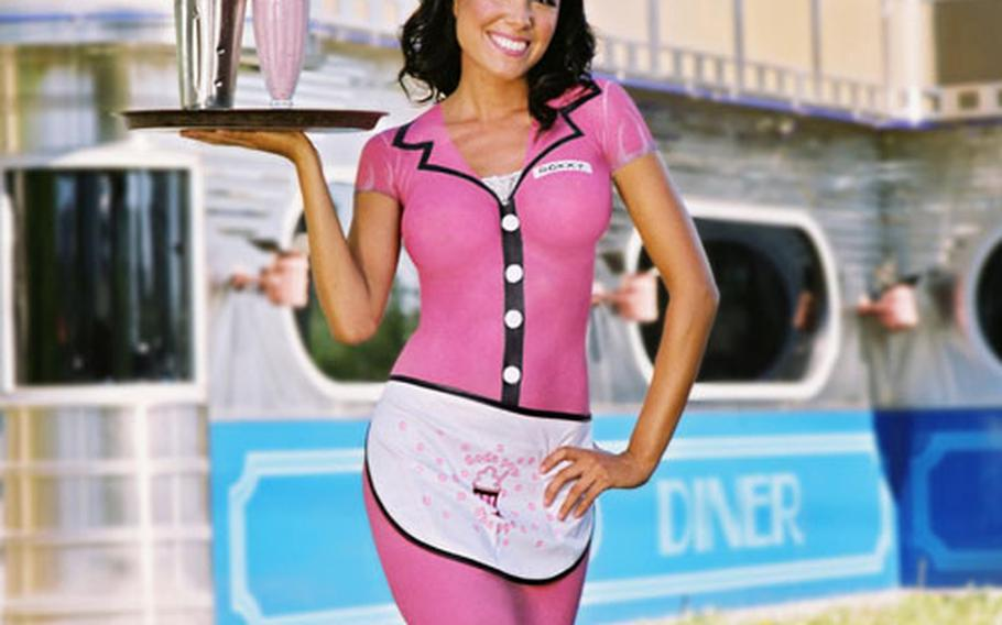 A model painted to look like a waitress in the 2007 Camouflage calendar.
