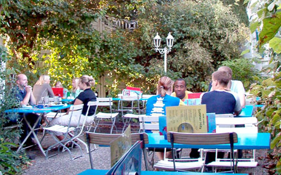 The biergarten in the back of the Antik Lokales is the perfect place to have a brew and wait for your pizza.