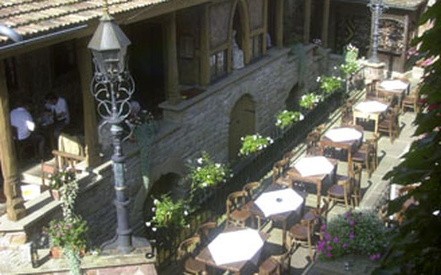 The courtyard of the LoewenThor restaurant in Gondelsheim, Germany, a 40-minute drive south of Heidelberg.
