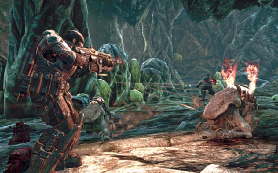 "Marcus Fenix takes aim at an explosive Ticker in ""Gears of War 2."""