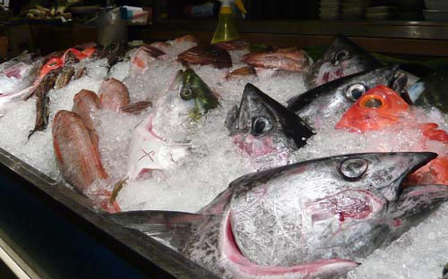 Customers can choose from fresh fish on display at Uoshin and have them cooked.