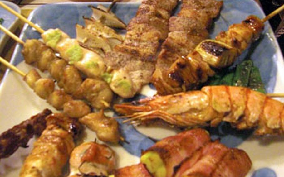 Chicken, pork, seafood and vegetables will be charcoal grilled to order in front of you at Yakitori Tenkai.