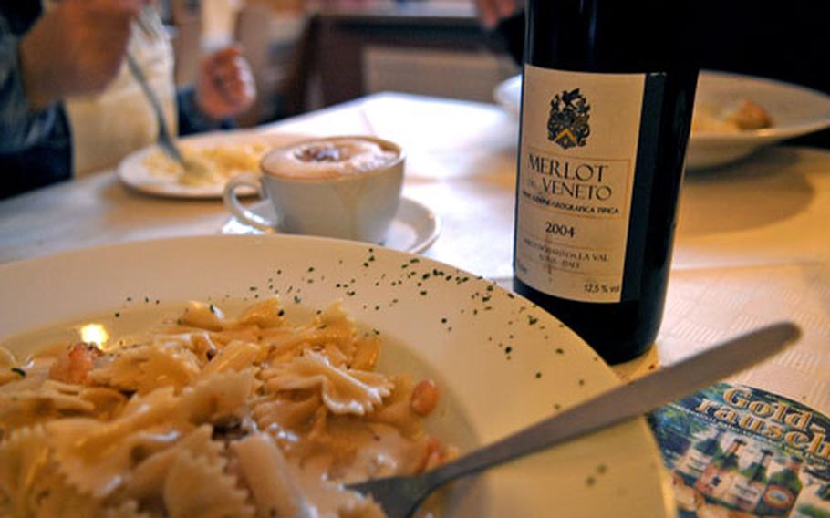 A bowl of steaming hot farfalle shrimp and squash Alfredo in a rich cream sauce was the perfect accompaniment to a bottle of red wine and, afterwards, a cappuccino at Trattoria da Salvatore.