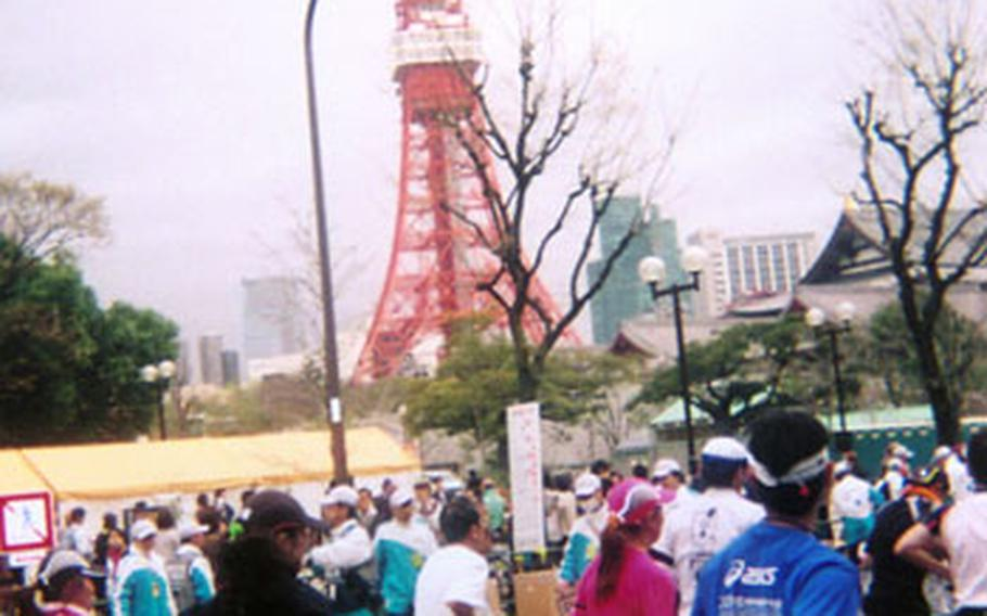 Passing Tokyo Tower around the 18-kilometer mark was cool, but also meant there was a long way to go!