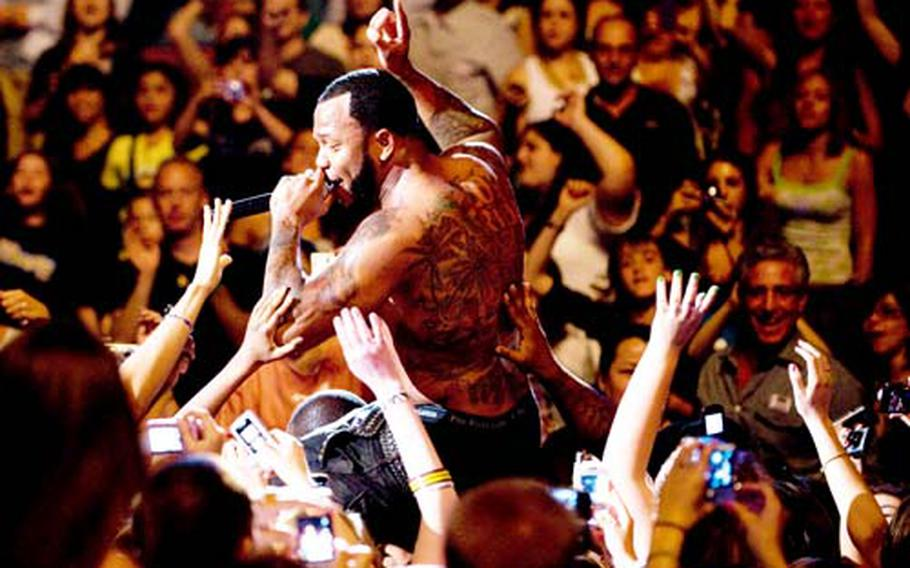 Flo Rida, shown in New Jersey in May, performed for troops in Yokosuka on Monday.