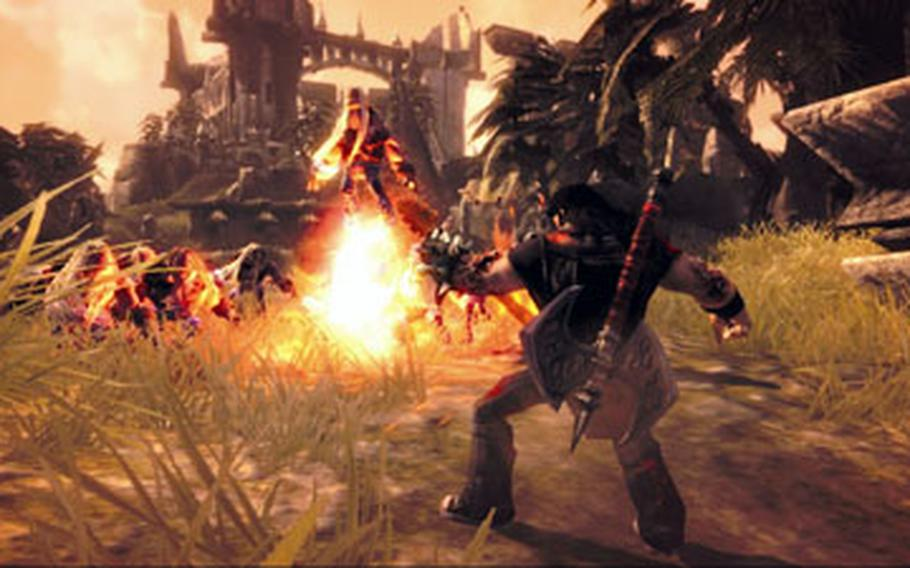 """Eddie Riggs — voiced by Jack Black — uses his guitar during a heated battle in the game """"Brütal Legend."""""""