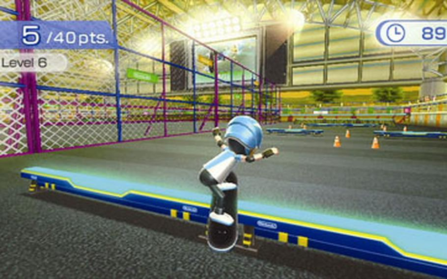 """A skateboarder leaps an obstacle in """"Wii Fit Plus,"""" which uses the Wii balance board to take the place of a skateboard."""