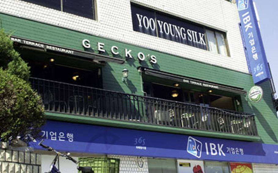 Gecko's sits at the main intersection in Itaewon.