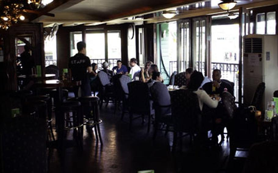 Gecko's Terrace Restaurant and Bar is a singles bar by night and a popular brunch spot on weekends.