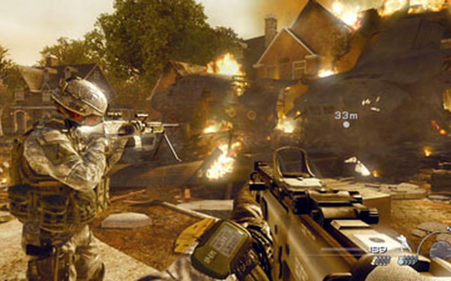 """American soldiers fight their way through a neighborhood in Northern Virginia during the single-player campaign in """"Call of Duty: Modern Warfare 2."""""""