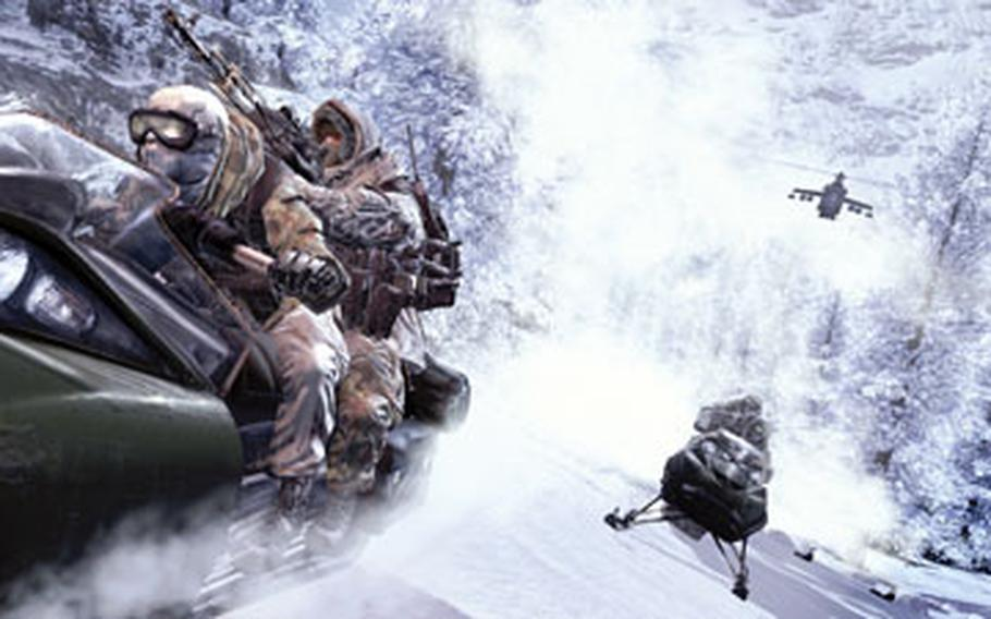 """During the course of """"Modern Warfare 2,"""" gamers play several characters, one of which is chased by Russian soldiers on snowmobiles."""