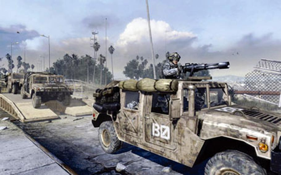 """Activision screen shots American Humvees rumble over a bridge in an early mission of """"Call of Duty: Modern Warfare 2."""""""
