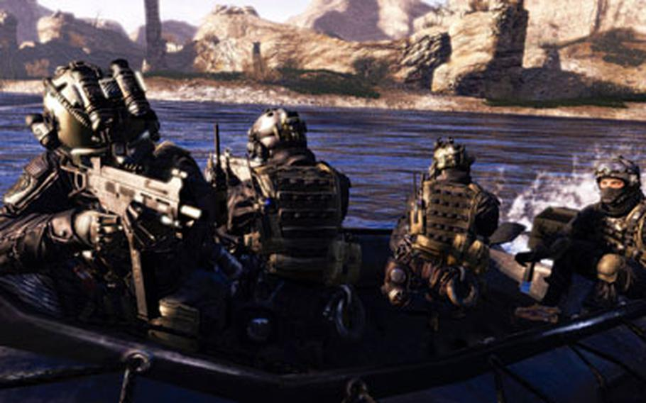 U.S. troops pursue your character along a river in Afghanistan during one of the later missions in the game.