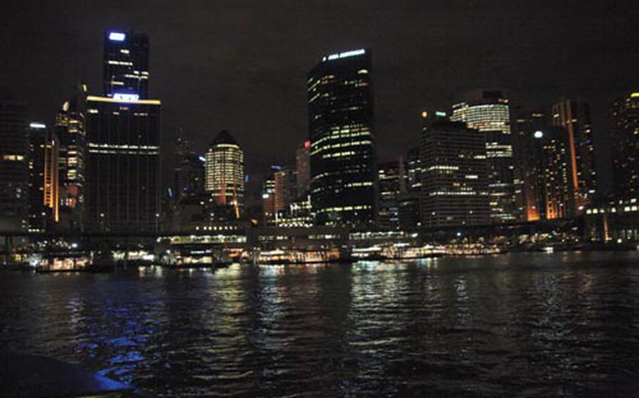 Riding on the ferry at night offers a terrific view of Sydney Harbour out along the oceanfront.