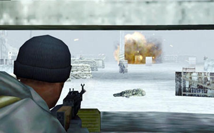 """SOCOM U.S. Navy SEALs Fireteam Bravo 3"" brings big action to the little PlayStation Portable."