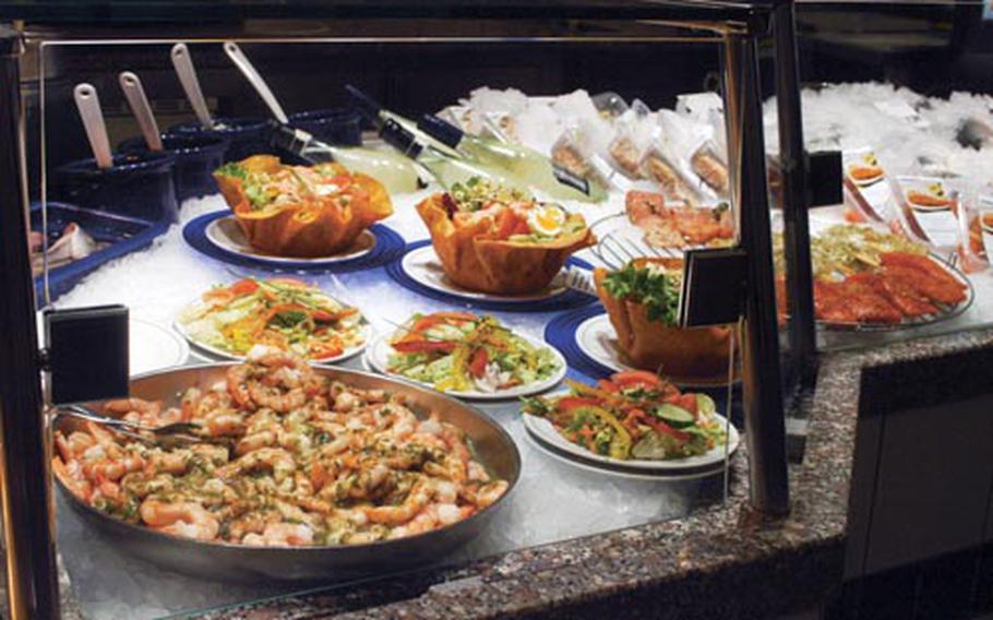 Ready-made fish salads await customers at Nordsee.