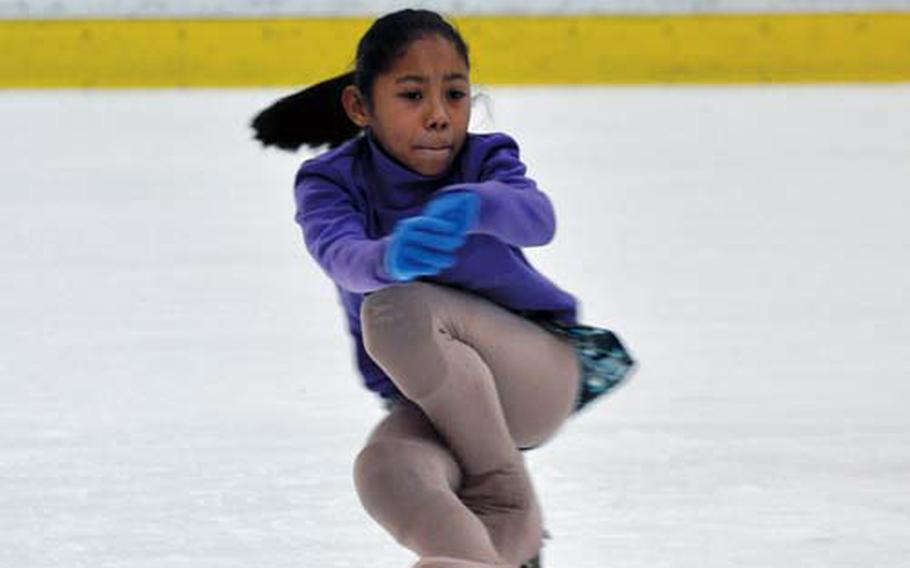 AAliyah Scott practices her figure skating in late February at the Misawa Ice Arena, near Misawa Air Base, Japan.