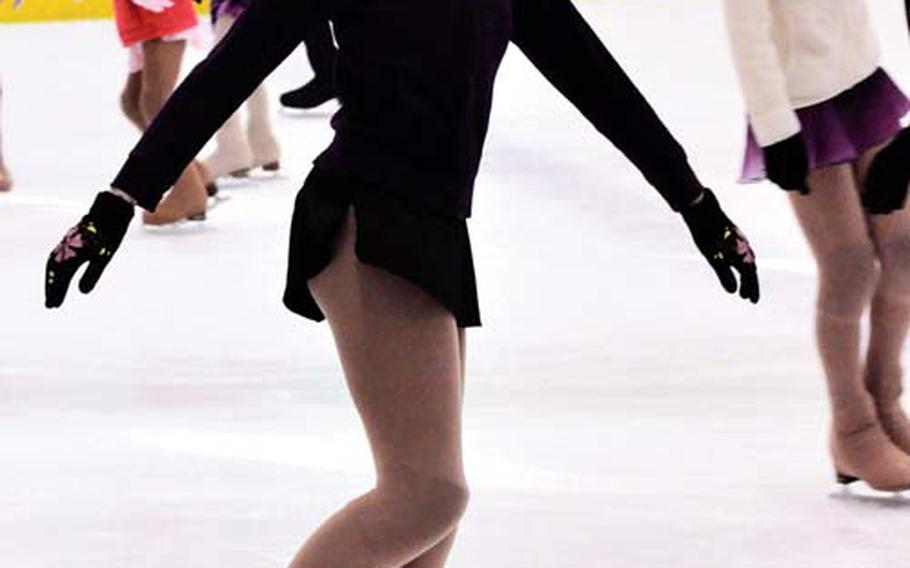 Katie Scott practices her figure skating in late February at the Misawa Ice Arena, near Misawa Air Base, Japan.