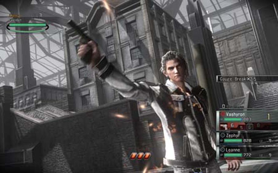 """Vashyron takes aim at an enemy in a scene from """"Resonance of Fate."""""""