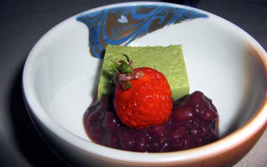 Green tea mousse, strawberry and sweetened beans are a superb match of East and West.
