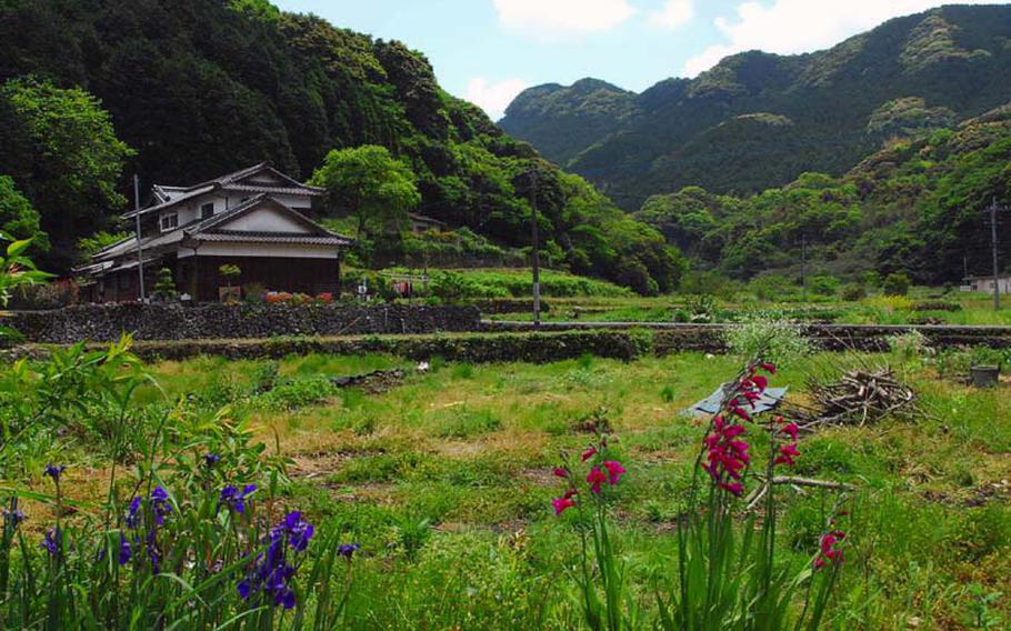 The Ishiki Valley is home to old farm houses and terraced, rock-walled fields.
