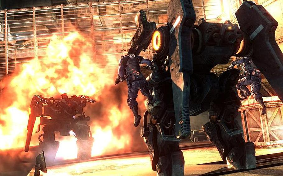 """Players can fight from inside giant mechanical suits in """"Lost Planet 2."""""""