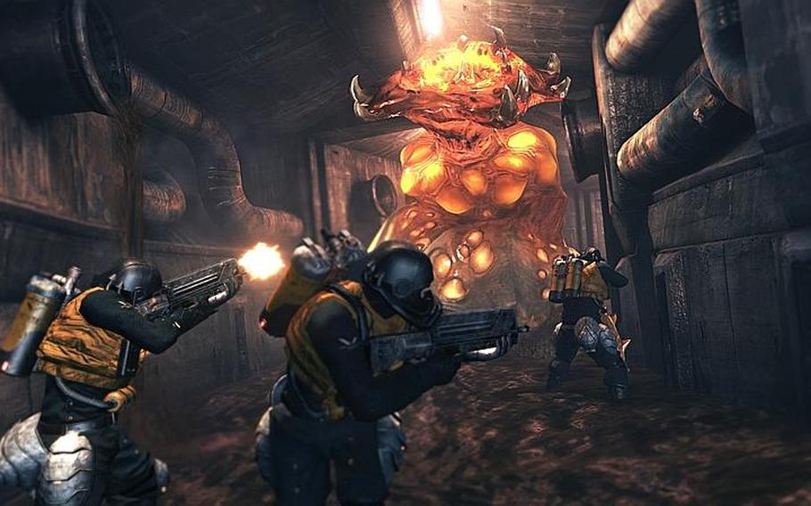 """Players try to take down an Akrid in sewers beneath a city in """"Lost Planet 2."""""""