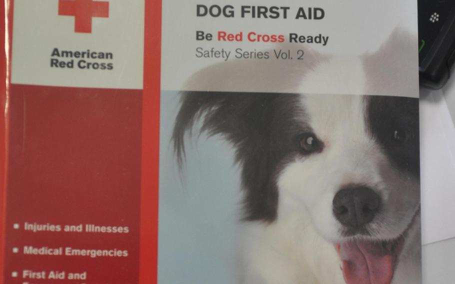First aid classes for humans on taking care of dogs? Some might think it a funny idea, but there's enough interest for the American Red Cross to come up with a curriculum for the subject. Those attending classes at Aviano Air Base, Italy,  get a book, a DVD and four hours of instruction from the base veterinarian.